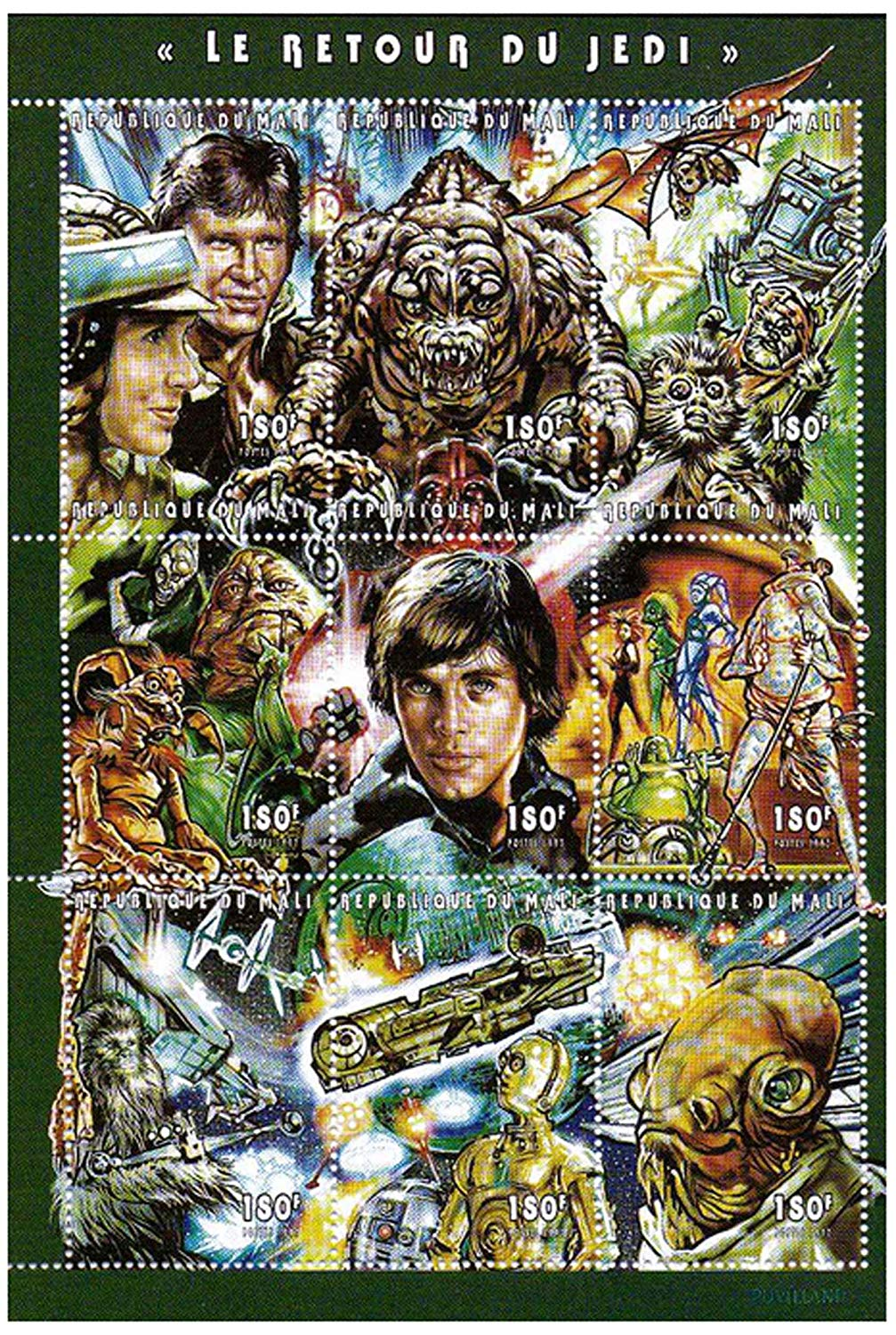 Star Wars - Star Wars timbres retour du Jedi - 9 timbres neuf timbre feuillet