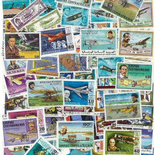 Collection de timbres Avions oblitérés - 100 timbres différents