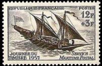 Journée du timbre 1957. Service Maritime Postal. Felouque du 18e siècle
