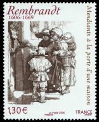 REMBRANDT 1606-1669 Mendiants à la porte d'une maison