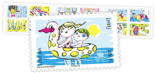 Sous le soleil - 12 timbres autocollants