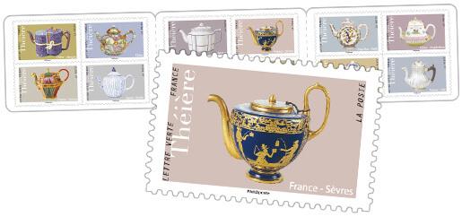 Carnet - Théières - 12 timbres autocollants