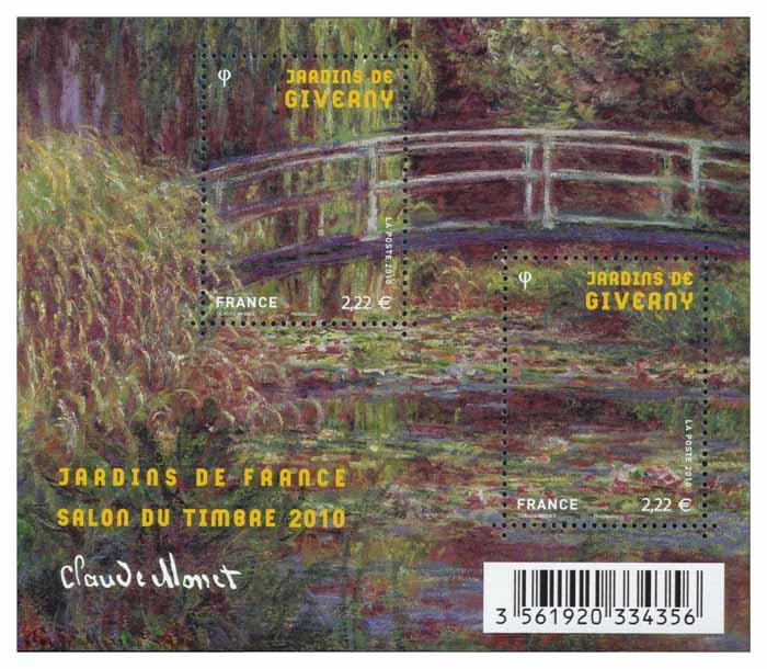 Jardins de Giverny (Eure), détail du pont japonais et du bassin avec nénuphars - Claude Monet