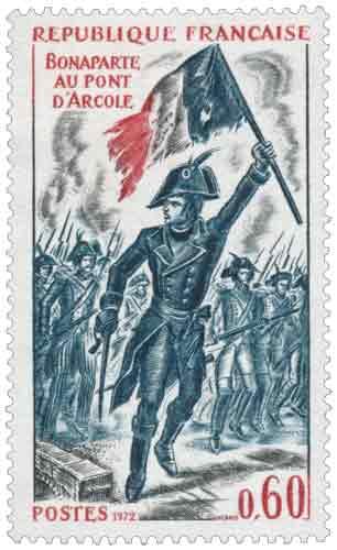 Bonaparte (1769-1821), né à Ajaccio, lors de la bataille du pont d'Arcole (Italie)