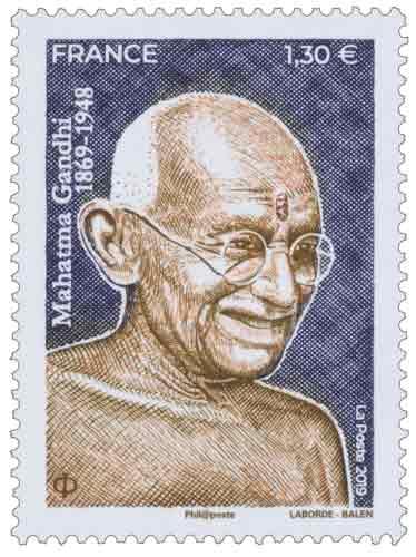 timbre à l'effigie du Mahatma Gandhi